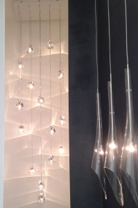 Calle and Mizu pendant lights by Terzani at Decorex 2014